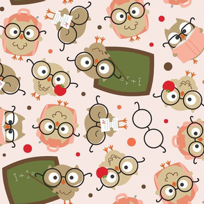 Back to School Owls Pink