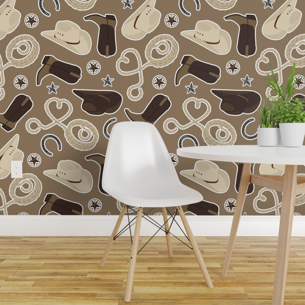 Cute Cowboy Theme Pattern Brown On Isobar By Jannasalak