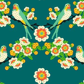 Bloomin'buttons'n'Birds - teal