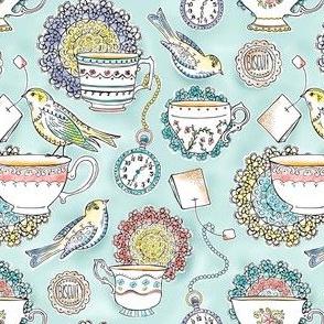 Afternoon Tea - Bird Watercolor 50% Scale