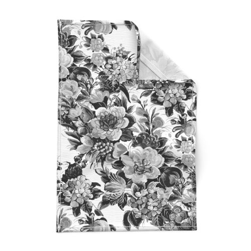Black and White Modern Floral Tea Towel