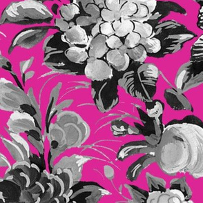 Mid Century Modern ~ Flower Cocktail ~ Black and White on Lurid