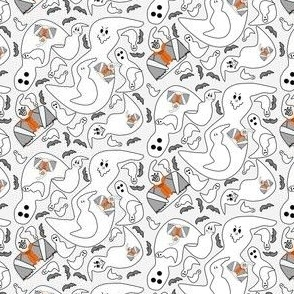 Ghost Halloween Collage Fabric