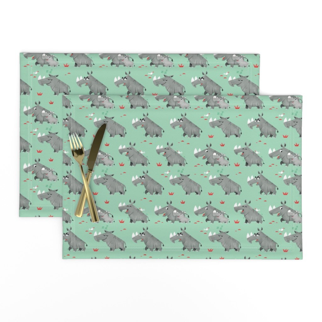 Lamona Cloth Placemats featuring rhinos by skwirrol