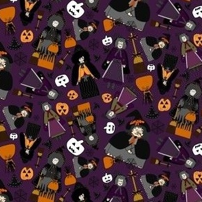 Witches, Halloween Hats, Spiders, Spider Webs, and Jack O Lantern Collage Fabric