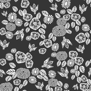 Bees in the Garden - Charcoal by Andrea Lauren