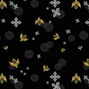Bees in Flight - Black by Andrea Lauren