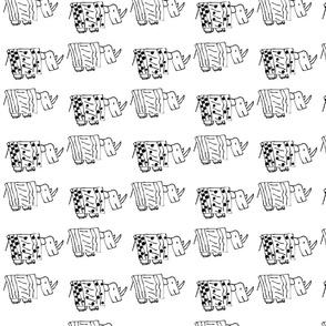 Rhinos black and white