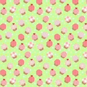 Small Pink Cupcakes Green