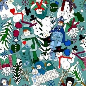 Snowman Winter Seasonal Collage Fabric 6