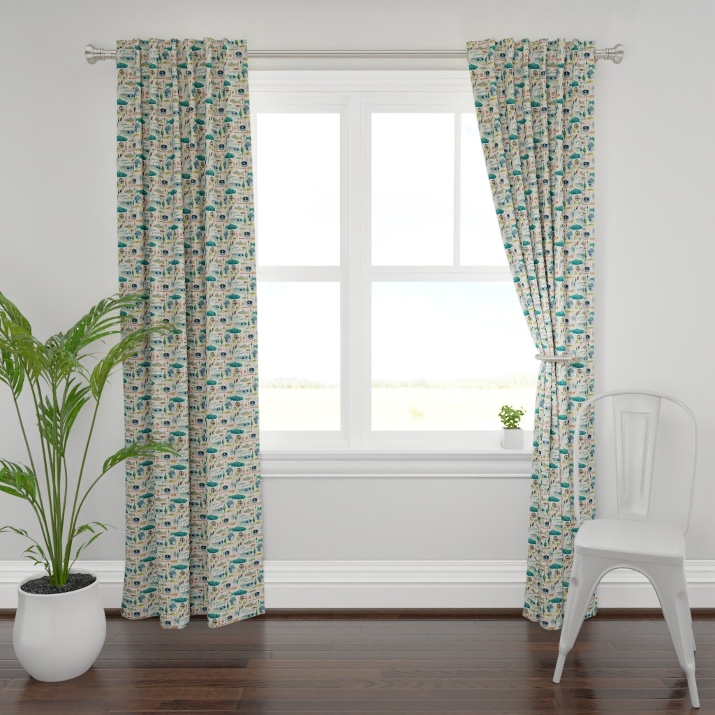 Plymouth Curtain Panel featuring Gone Fishing by ohn_mar_win