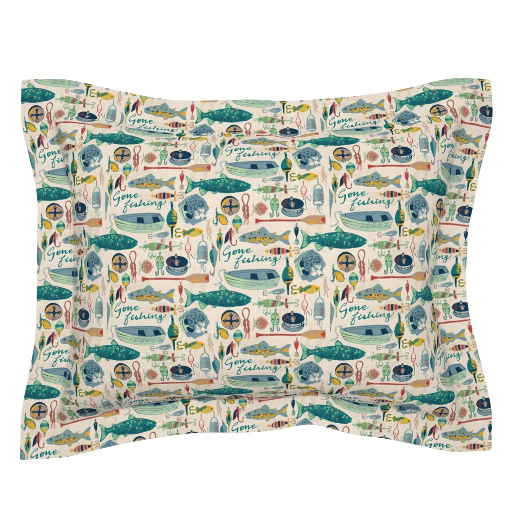 Sebright Pillow Sham featuring Gone Fishing by ohn_mar_win