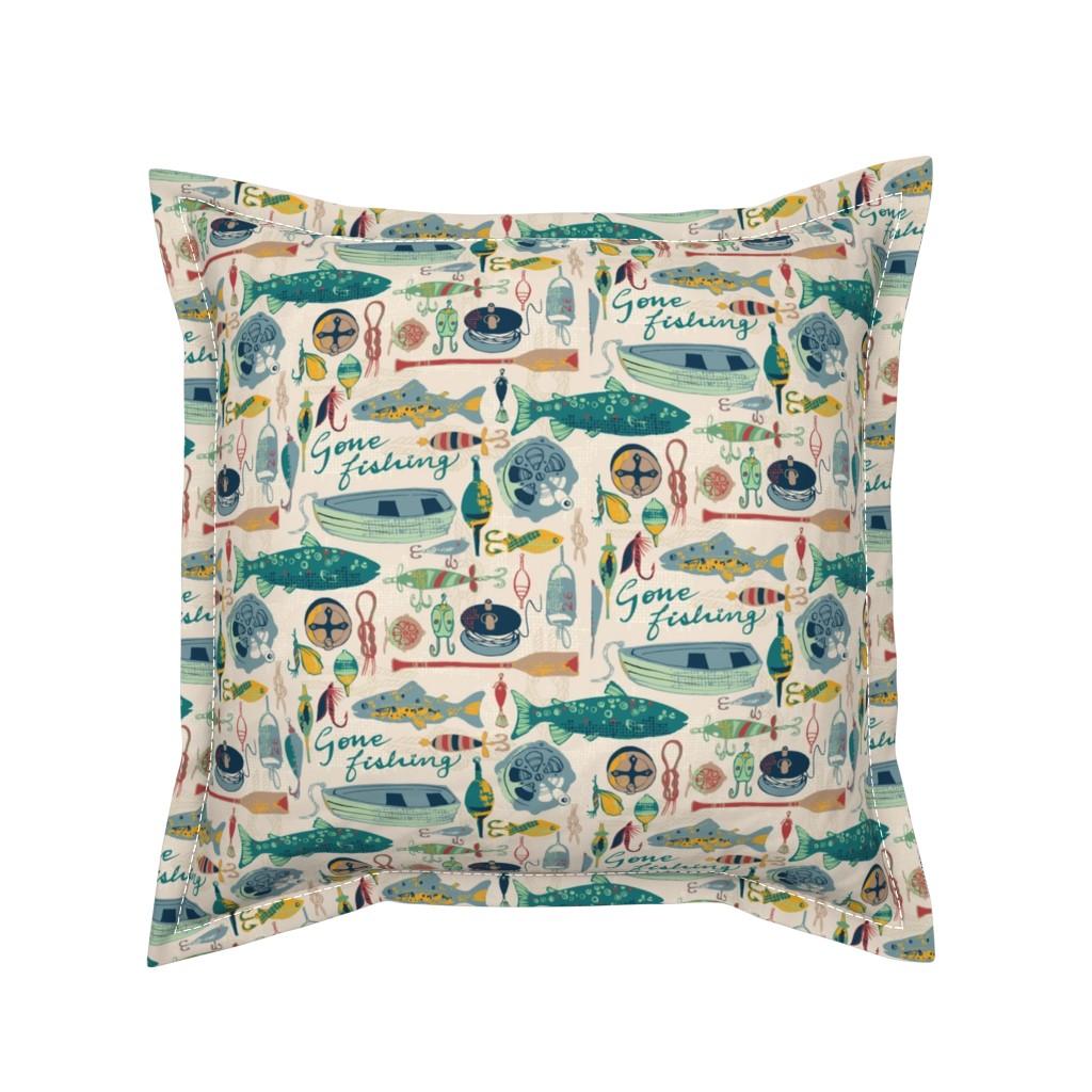 Serama Throw Pillow featuring Gone Fishing by ohn_mar_win