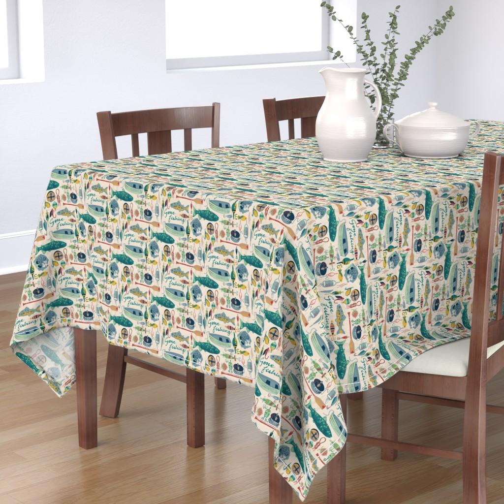 Bantam Rectangular Tablecloth featuring Gone Fishing by ohn_mar_win