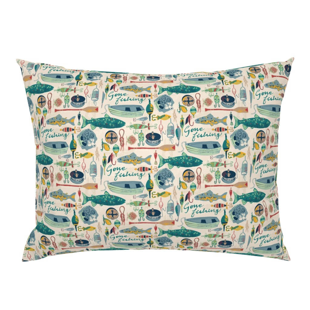 Campine Pillow Sham featuring Gone Fishing by ohn_mar_win