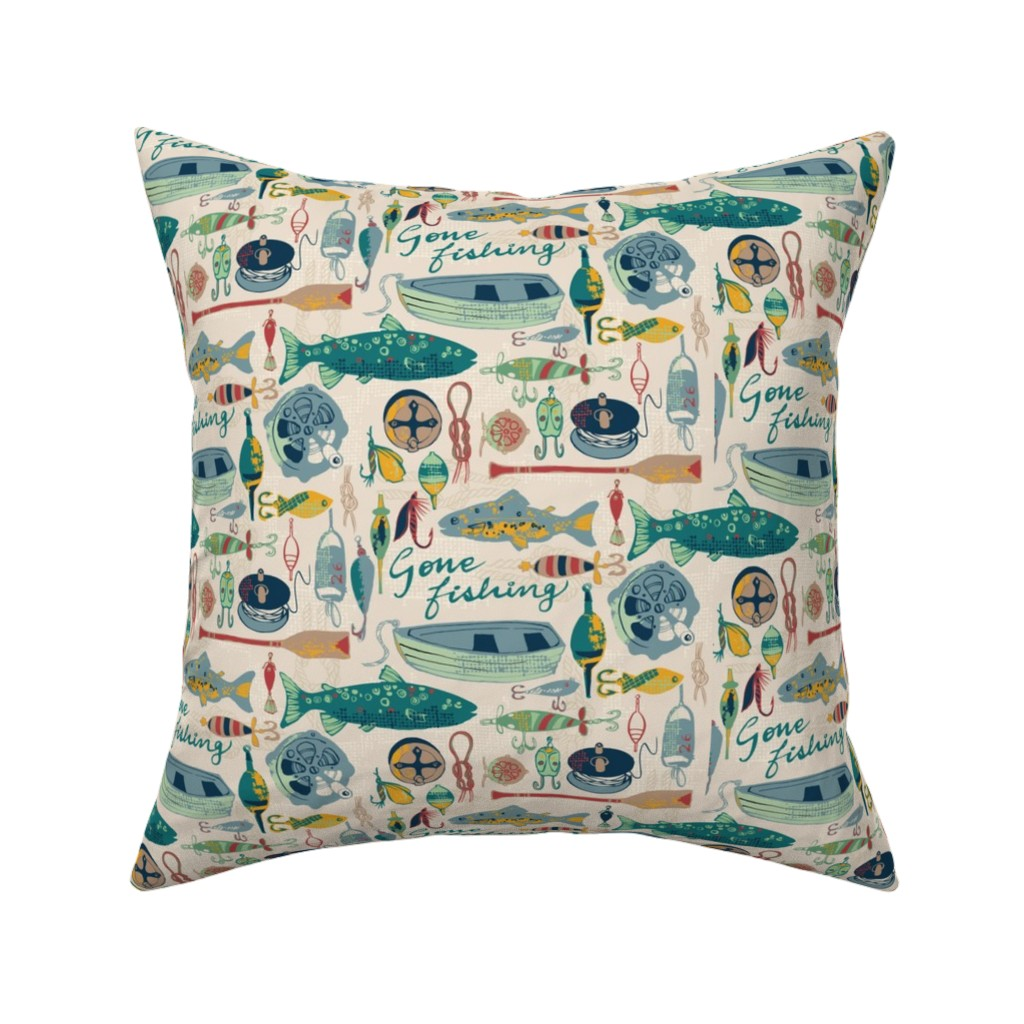 Catalan Throw Pillow featuring Gone Fishing by ohn_mar_win