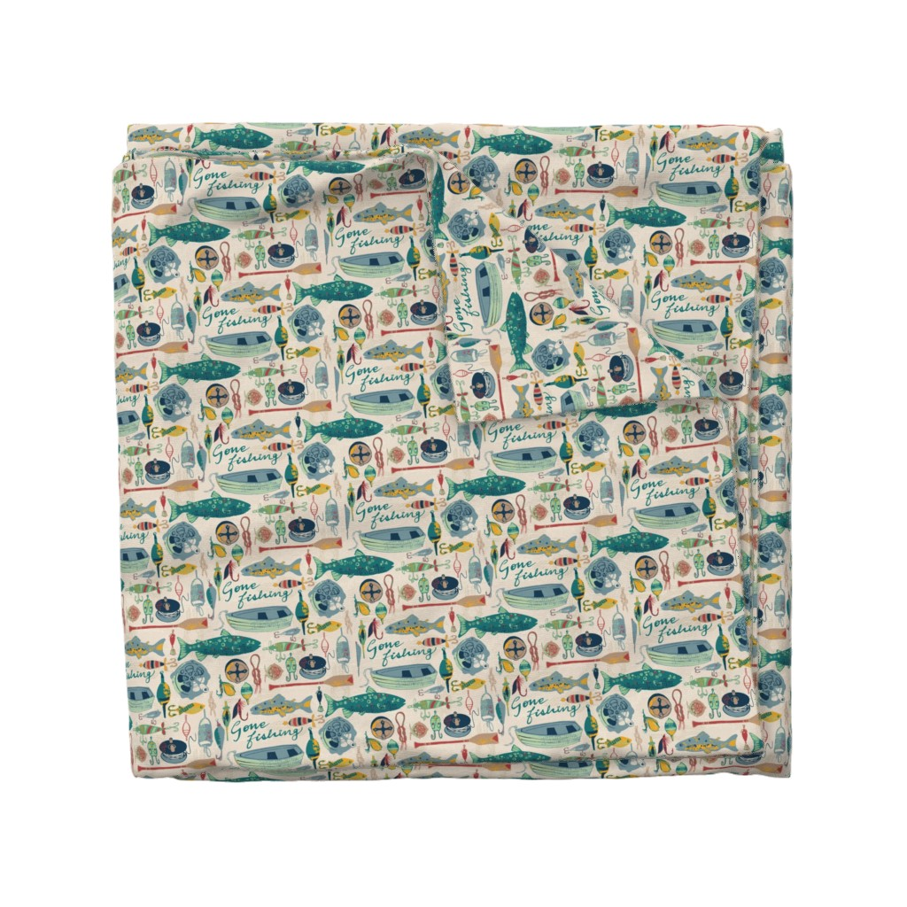 Wyandotte Duvet Cover featuring Gone Fishing by ohn_mar_win