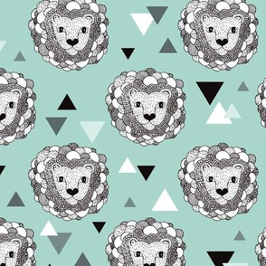 Woodland geometric lion doodle illustration pattern