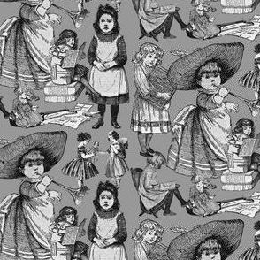 Victorian Books Black & White Toile  Fabric 10