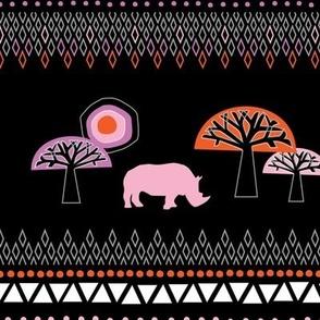 African Rhino (Warm Colors) - by Kara Peters