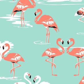Flamingos love mint - large