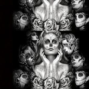 mexican skull girls tattoo