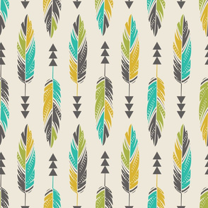Painted Feathers-Cream