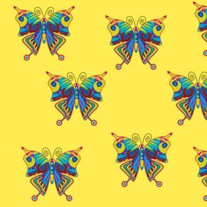Colorflies on yellow