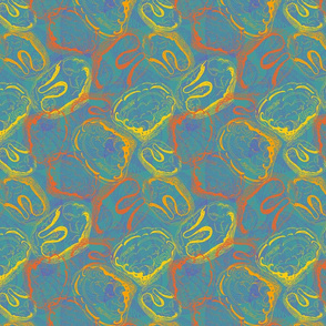 Shell I? Shan't I? Sea Shell Fabric in Teal