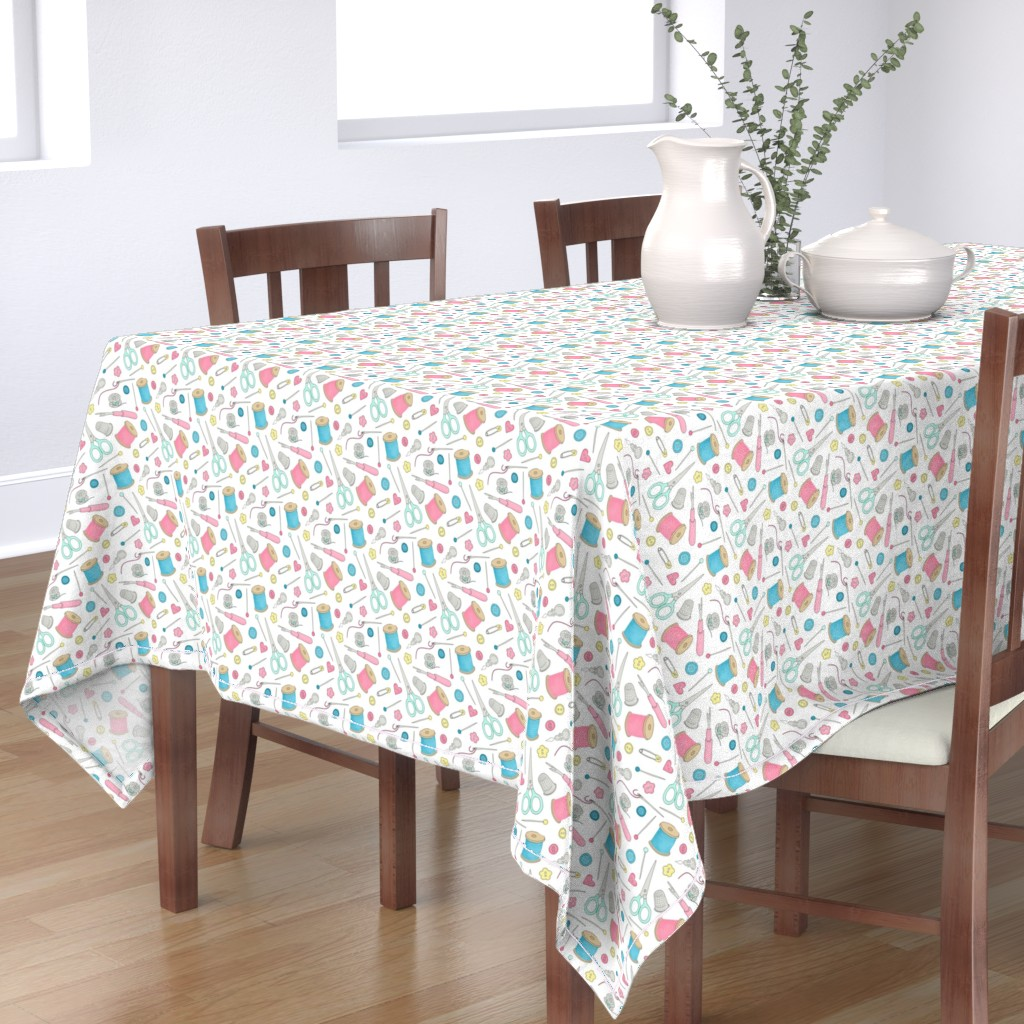 Bantam Rectangular Tablecloth featuring Sewing Notions 1 - mixed notions by hazelfishercreations
