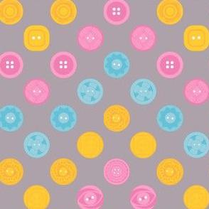 Vintage Buttons Zig Zag Polka Dots (Grey)