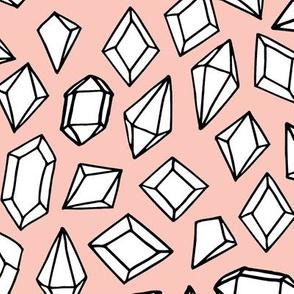 crystals // pink gems fabric gemstones geodes design pink pastel geodesic design