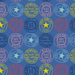 Postmarks - blue
