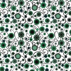 black, white and green flowers