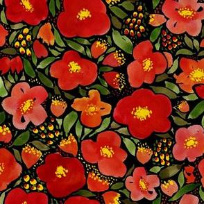 Dark Floral Watercolor Red Poppy Flower