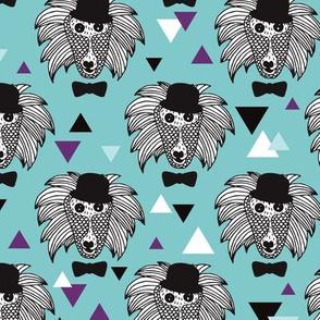 Woodland geometric raccoon doodle illustration pattern
