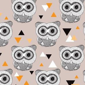 Woodland geometric owl doodle illustration pattern
