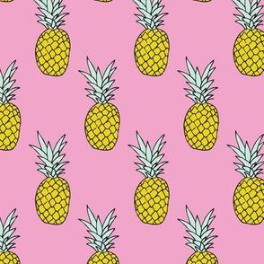 Hot summer pineapple pink tropical summer fruit trend