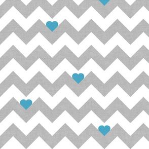 Heart & Chevron - Grey/Blue Canvas