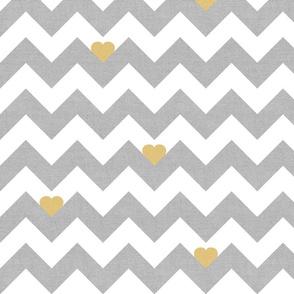 Heart & Chevron - Grey/Yellow Canvas