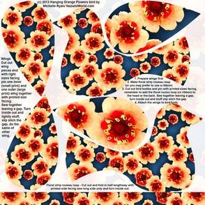 Hanging Flowerbirds Orange Flowers Print