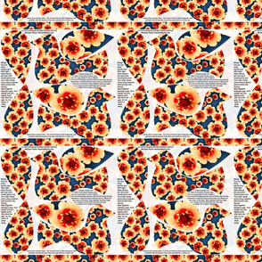 Hanging Flowerbirds Orange Flowers Print