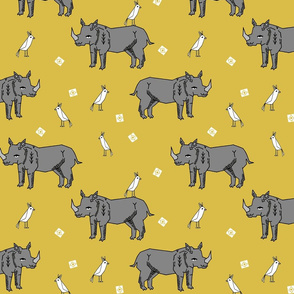 Rhinos - Mustard by Andrea Lauren