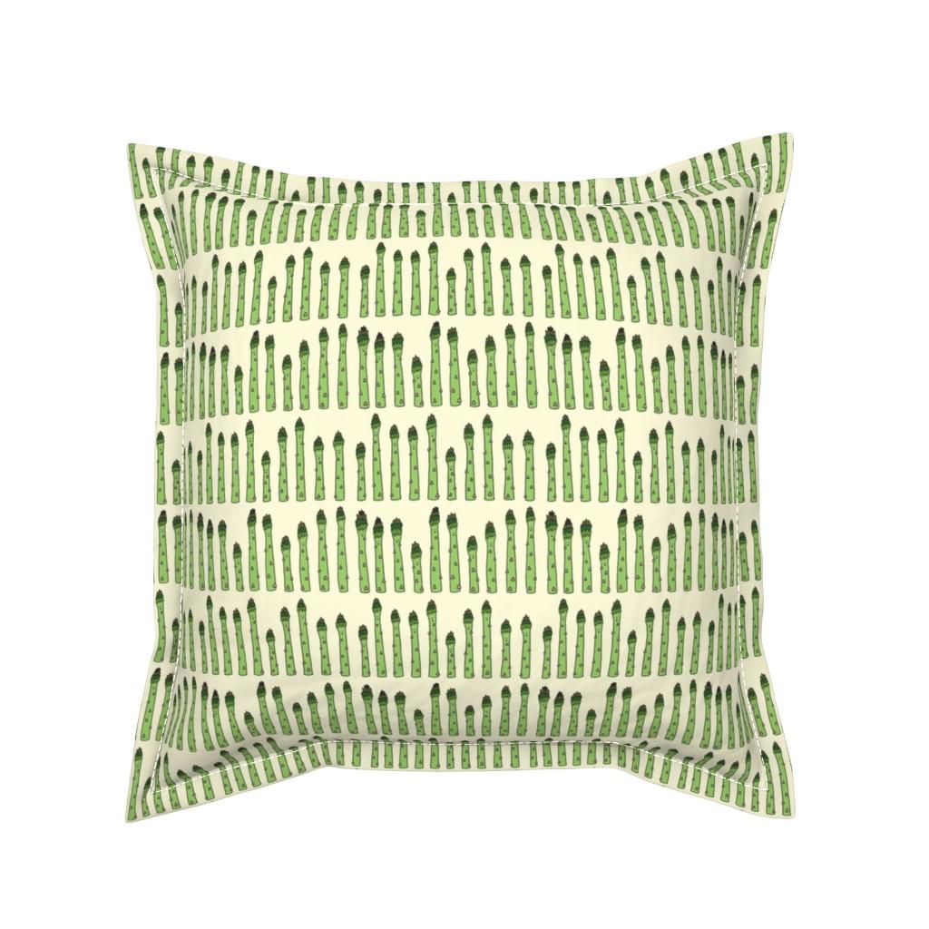 Serama Throw Pillow featuring happy asparagus (original) by ohdiane