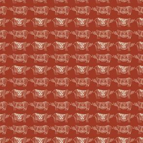 Rhino on red orange