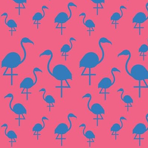 Flamingos in blue on pink