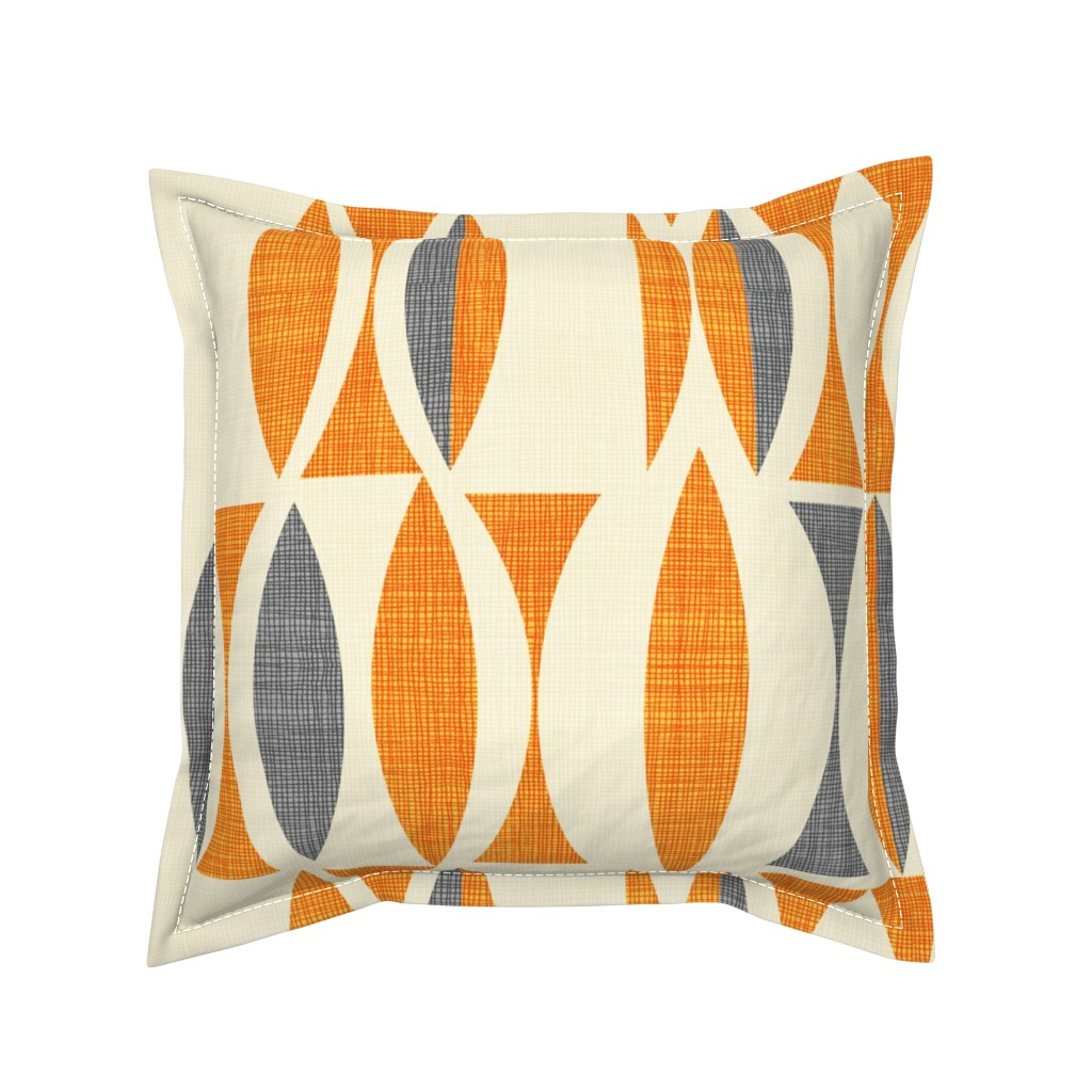 Serama Throw Pillow featuring field in orange gray by chicca_besso