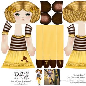 Cut and Sew Doll Pattern Goldiocks Bear