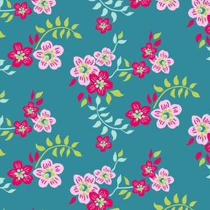 floral sprig teal