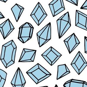 crystals // pastel blue gemstones gem fabric cute geodes fabric
